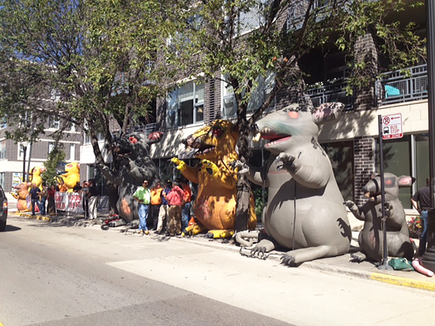 LiUNA's Scabby the Rat protest