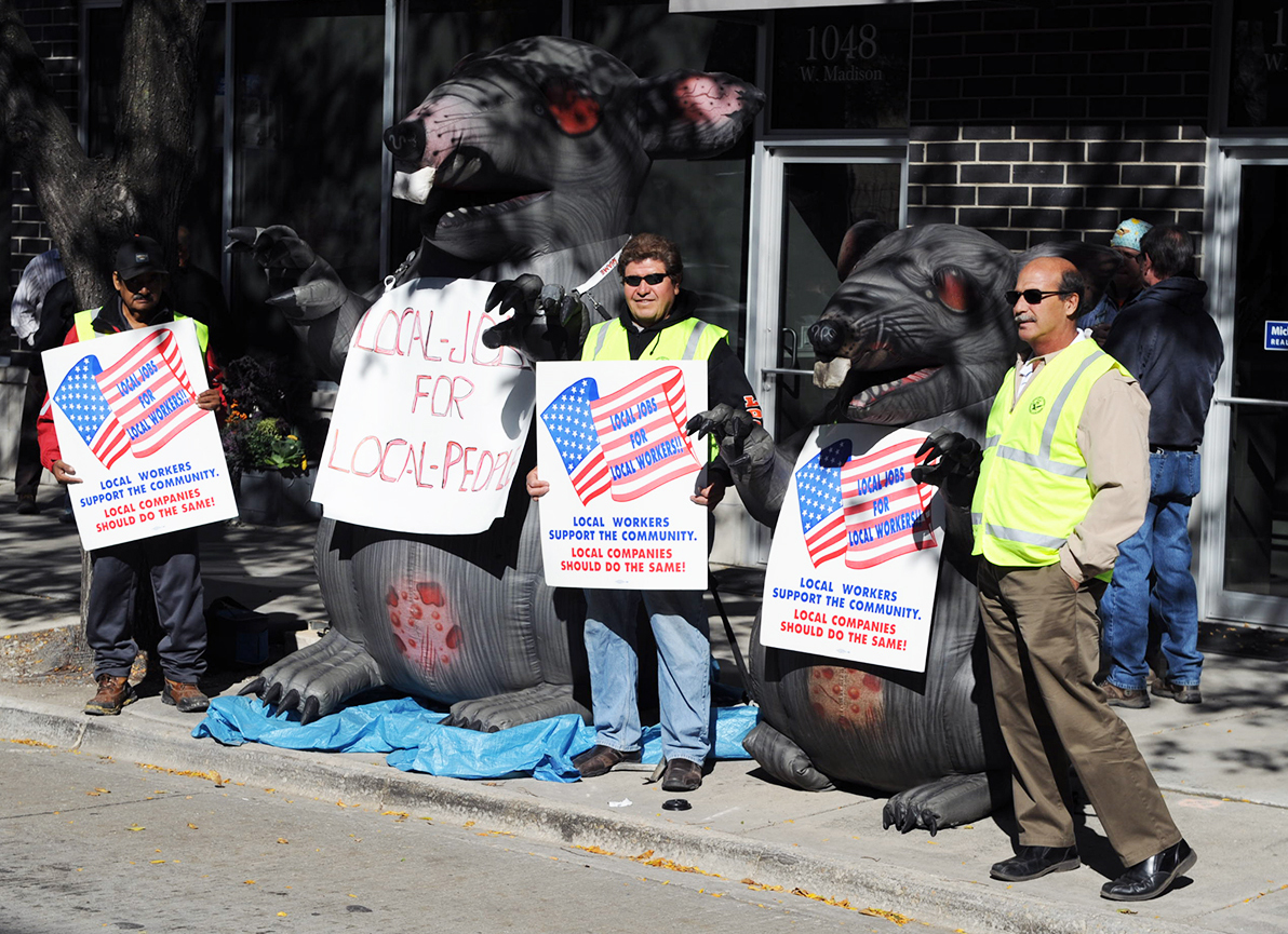Vivify Services and Michigan Avenue Real Estate Group protest